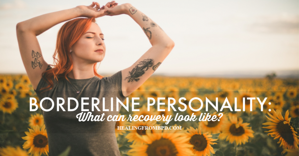 borderline pesonality recovery look like woman in field of sunflowers looking relieved